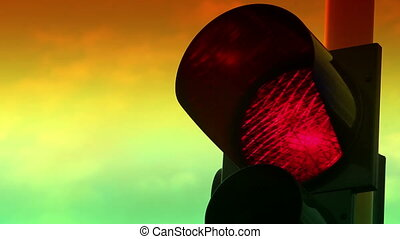 Close up view of red color on the traffic light