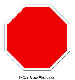 red blank sign on white