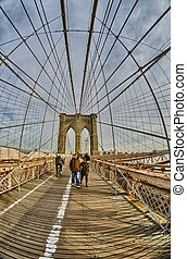 Magnificient structure of Brooklyn Bridge - New York City -...