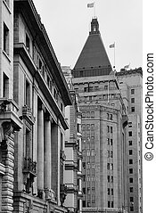 Old buildings in Waitan of Shanghai in black and white
