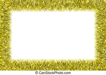 Christmas yellow tinsel frame on white background
