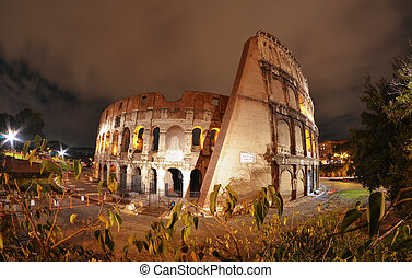 Beautiful wide angle view of Colosseum at Night - Rome