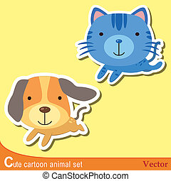 cute animal set02 - set of cute cartoon animals with dog,and...
