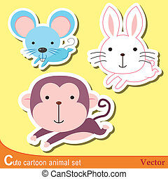 cute animal set03 - set of cute cartoon animals with mouse,...