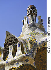 Park Guell, Barcelona - mosaic roof fragment from famous...