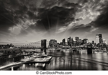 nuovo, York, città, -, Manhattan, orizzonte, inverno,...