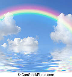 Spectrum Beauty - Fantasy abstract of a blue sky with a...