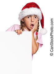 Little girl in Santa hat - Portrait of little girl in Santa...