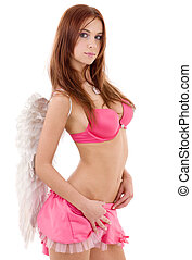 redhead angel - portrait of redhead angel girl over white