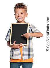 Boy with small blackboard - Happy boy with small blackboard...