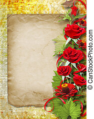 Card for congratulation or invitation with red roses