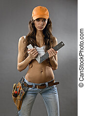 sexy young woman construction worker
