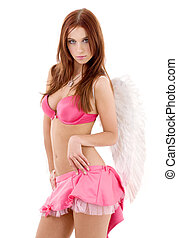 pink lingerie angel - redhead angel girl in pink lingerie...