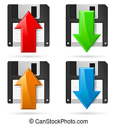 Floppy icons Upload and Download. Illustration on white