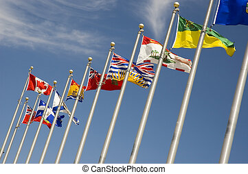 Flags - View of a douzen flags representing every province...