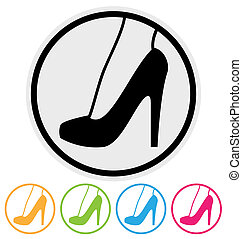 high heel shoe icon isolated on white