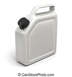 Jerry can - 3D illustration of white jerry can isolated on...