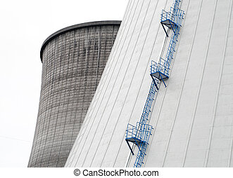nuclear power plant - close-up of two cooling towers of a...