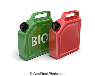 Bio fuel - Red canister and green bio fuel jerry can...