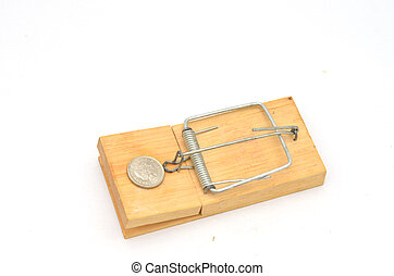 mousetrap at angle with 5 pence coin