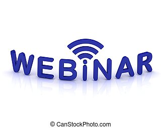 webinar sign with the antenna with blue letters on isolated...