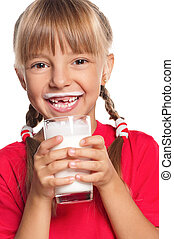 Little girl with glass of milk - Beautiful smiling little...