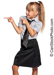 Little girl in school uniform - Happy little girl in school...