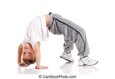 Boy gymnastic - Happy little boy doing gymnastics isolated...