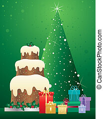 christmas cake - an illustration of a christmas cake with...