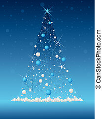 snowflake christmas tree - an illustration of an illuminated...