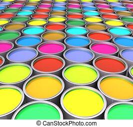3d color paint cans