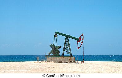 petróleo, extracción, cubano, tierra