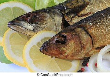 Smoked fish on lemon disks