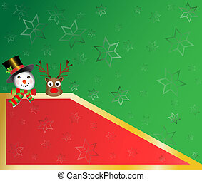 snowman and red nose christmas card with star snowflakes...