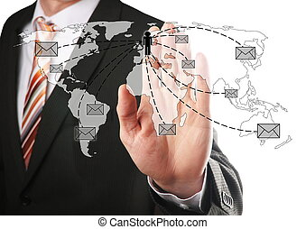 hand select a contact - Business man sent emails to his...