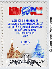 USSR - CIRCA 1982 : stamp printed in USSR shows soviet and...