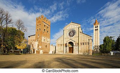 Basilica of San Zeno Verona - Italy - Facade and bell tower...
