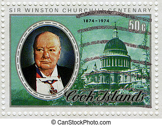 COOK ISLANDS - CIRCA 1974 : Stamp printed in Cook Islands of Centenary Winston Churchill great prime minister in UK, circa 1974