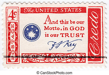 USA - CIRCA 1960 : stamp printed in USA quotation by Francis...