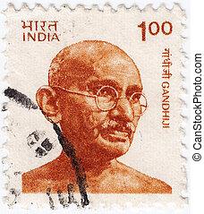 India, -, circa, 1976, :, affrancatura, francobollo,...