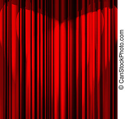 red theater curtain - red theater curtain with a light...