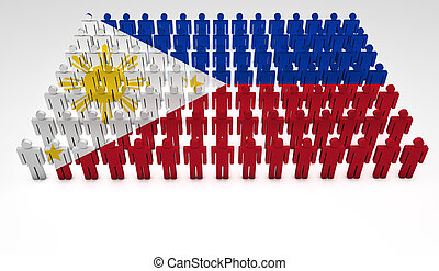 Philippines Parade - Parade of 3d people forming a top view...