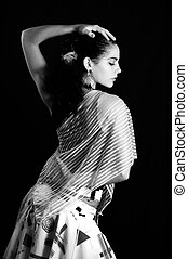 Flamenco passion - Portrait of hispanic flamenco dancer...