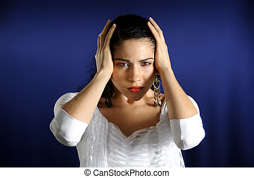 Serious hispanic woman - Portrait of serious hispanic woman...