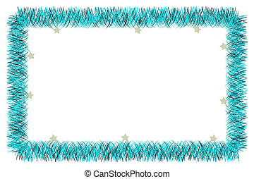 Christmas blue tinsel frame on white background