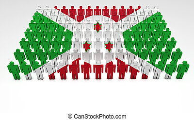 Burundi Parade - Parade of 3d people forming a top view of...
