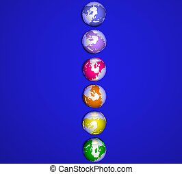 3d colorful planet earth on blue background