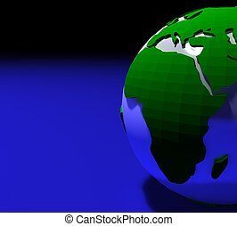 3d green planet earth on blue background