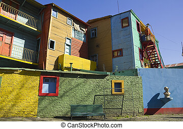 La Boca, Buenos Aires, Argentina - The colourful buildings...