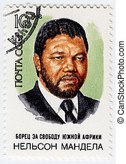 USSR - CIRCA 1988 : stamp printed in USSR show Nelson...